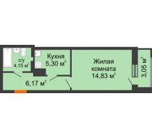 1 комнатная квартира 33,5 м² в ЖК Виктория, дом № 52 - планировка