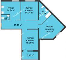 3 комнатная квартира 90,54 м² в ЖК Квартет, дом ГП-227 - планировка