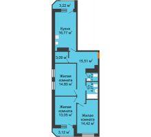 3 комнатная квартира 90,39 м² в ЖК Город времени, дом № 18 - планировка