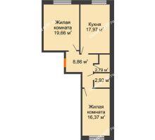 2 комнатная квартира 68,54 м², ЖК Две реки - планировка