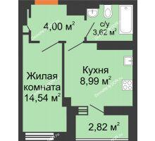 1 комнатная квартира 34,3 м², ЖК Дом на 14-й Линии - планировка