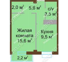 1 комнатная квартира 36,9 м², ЖК Каскад - планировка