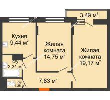 2 комнатная квартира 57,51 м², Жилой дом: ул. Сухопутная - планировка