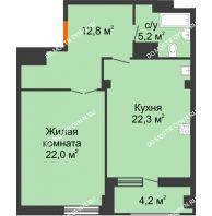 1 комнатная квартира 64,4 м² в ЖК Квартет, дом № 3 - планировка