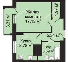 1 комнатная квартира 40,47 м², ЖК Гелиос - планировка