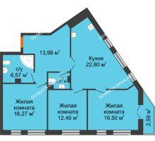 3 комнатная квартира 93,68 м² - ЖК Пушкин