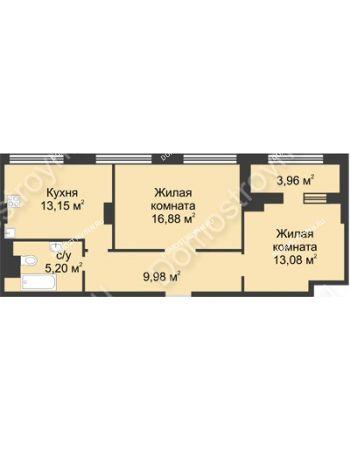 2 комнатная квартира 60,27 м² в ЖК Караваиха, дом № 5