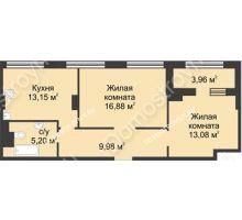 2 комнатная квартира 60,27 м² в ЖК Караваиха, дом № 5 - планировка