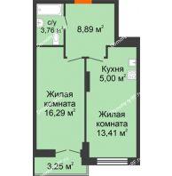 1 комнатная квартира 50,6 м² в ЖК Рассвет, дом № 6 - планировка