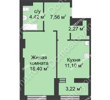 1 комнатная квартира 45,36 м² в ЖК Караваиха, дом № 5 - планировка