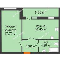 1 комнатная квартира 47,4 м² в ЖК Куйбышев, дом № 10 - планировка