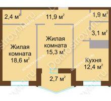 2 комнатная квартира 68,3 м² в ЖК Монолит, дом № 89, корп. 1, 2 - планировка