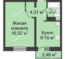 1 комнатная квартира 33,09 м² в ЖК Мончегория, дом № 3 - планировка