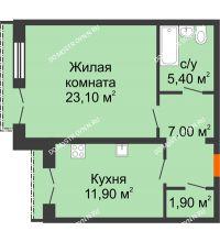 1 комнатная квартира 49,3 м², Жилой дом: г. Дзержинск, ул. Кирова, д.12 - планировка