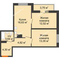 2 комнатная квартира 59,01 м² в ЖК Рассвет, дом № 8 - планировка