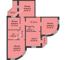 4 комнатная квартира 140,9 м², ЖК по ул. Циолковского - планировка