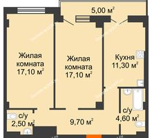 2 комнатная квартира 69,2 м² в ЖК Парк Островского 2, дом № 1 - планировка