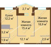 2 комнатная квартира 68,9 м² в ЖК Монолит, дом № 89, корп. 1, 2 - планировка