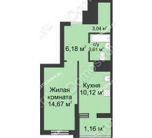 1 комнатная квартира 38,78 м² в ЖК Маленькая страна, дом № 1 - планировка