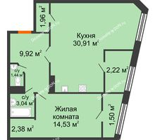 1 комнатная квартира 68,21 м² в Микрорайон Красный Аксай, дом Литер 21