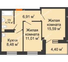 2 комнатная квартира 48,96 м², Жилой дом в 7 мкрн.г.Сосновоборск - планировка