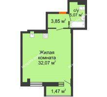 Студия 42,46 м² в ЖК Дом с террасами, дом № 6 - планировка