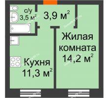1 комнатная квартира 32,9 м² в ЖК Видный, дом № 2