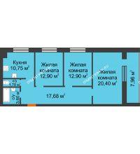 3 комнатная квартира 83,99 м² в ЖК Парк Горького, дом 62/18, № 6 - планировка