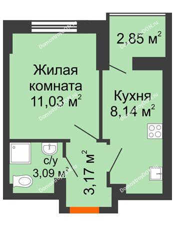 1 комнатная квартира 26,86 м² в ЖК Аврора, дом № 3