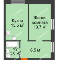 1 комнатная квартира 39,3 м², ЖК Красный дом - планировка