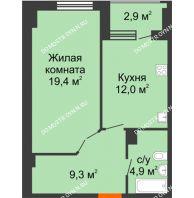 1 комнатная квартира 47,05 м² в ЖК Квартет, дом № 3 - планировка