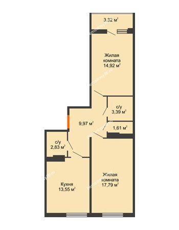 2 комнатная квартира 64,59 м² в ЖК Семейный парк, дом Литер 2