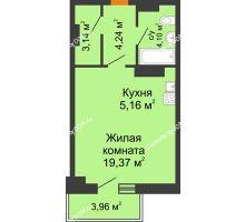 Студия 37,2 м² в ЖК Сокол на Оганова, дом Литер 5 - планировка
