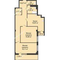 2 комнатная квартира 82,5 м² в  ЖК РИИЖТский Уют, дом Секция 1-2 - планировка