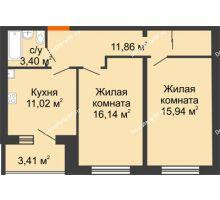 2 комнатная квартира 60,06 м², ЖК Вавиловский Дворик - планировка