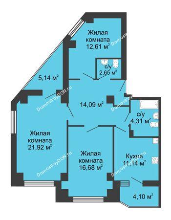 3 комнатная квартира 88,02 м² в ЖК Мега, дом № 1