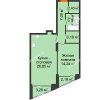 1 комнатная квартира 59,83 м², Клубный дом на Ярославской - планировка