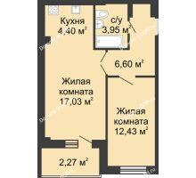 2 комнатная квартира 48,41 м² в ЖК Соловьиная роща, дом № 5 - планировка