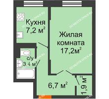 1 комнатная квартира 36,4 м² в ЖК Жюль Верн, дом № 1 корпус 2