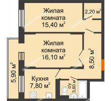 2 комнатная квартира 55,1 м² в ЖК Жюль Верн, дом № 1 корпус 1 - планировка