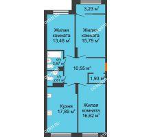 3 комнатная квартира 84,16 м² в ЖК Маленькая страна, дом № 4 - планировка