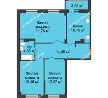 3 комнатная квартира 78,28 м² - ЖК Семейный
