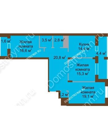 3 комнатная квартира 99,7 м² в ЖК Монолит, дом № 89, корп. 1, 2