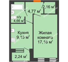 1 комнатная квартира 39,02 м² - Дом на Чаадаева