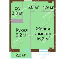 1 комнатная квартира 36,8 м², ЖК Каскад - планировка