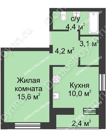 1 комнатная квартира 39,7 м² - ЖК Дом на Иванова