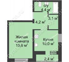 1 комнатная квартира 39,7 м², ЖК Дом на Иванова - планировка
