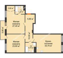 2 комнатная квартира 117,22 м² в ЖК Георгиевский, дом 2а - планировка