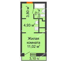 Студия 23,37 м² в ЖК Первая Линия. Гавань, дом № 2.4 - планировка