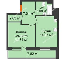 1 комнатная квартира 47,74 м² в ЖК Циолковский, дом № 5 - планировка